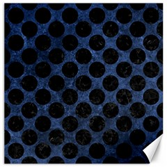 Circles2 Black Marble & Blue Stone (r) Canvas 16  X 16  by trendistuff