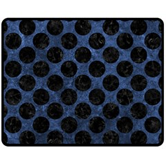 Circles2 Black Marble & Blue Stone (r) Fleece Blanket (medium) by trendistuff