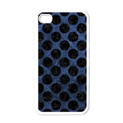 Circles2 Black Marble & Blue Stone (r) Apple Iphone 4 Case (white) by trendistuff