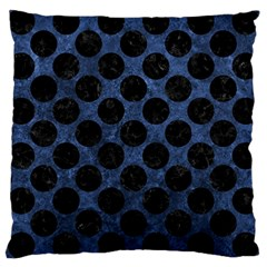Circles2 Black Marble & Blue Stone (r) Large Cushion Case (one Side) by trendistuff