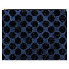 Circles2 Black Marble & Blue Stone (r) Cosmetic Bag (xxxl)