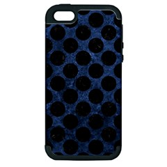 Circles2 Black Marble & Blue Stone (r) Apple Iphone 5 Hardshell Case (pc+silicone) by trendistuff