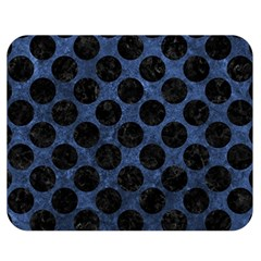 Circles2 Black Marble & Blue Stone (r) Double Sided Flano Blanket (medium) by trendistuff