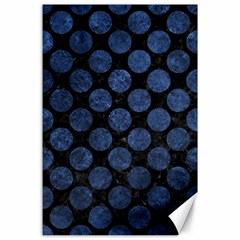Circles2 Black Marble & Blue Stone Canvas 24  X 36  by trendistuff