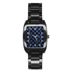 Circles2 Black Marble & Blue Stone Stainless Steel Barrel Watch by trendistuff
