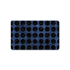 Circles1 Black Marble & Blue Stone (r) Magnet (name Card) by trendistuff