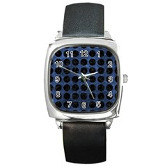 Circles1 Black Marble & Blue Stone (r) Square Metal Watch by trendistuff