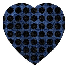 Circles1 Black Marble & Blue Stone (r) Jigsaw Puzzle (heart) by trendistuff