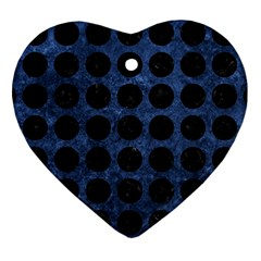 Circles1 Black Marble & Blue Stone (r) Heart Ornament (two Sides) by trendistuff