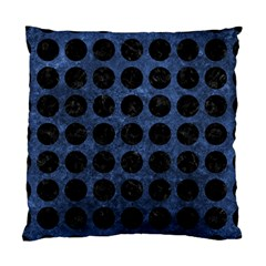 Circles1 Black Marble & Blue Stone (r) Standard Cushion Case (one Side) by trendistuff