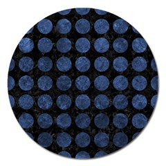 Circles1 Black Marble & Blue Stone Magnet 5  (round) by trendistuff