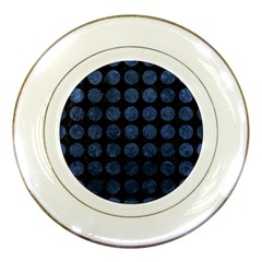 Circles1 Black Marble & Blue Stone Porcelain Plate by trendistuff