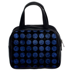 Circles1 Black Marble & Blue Stone Classic Handbag (two Sides) by trendistuff