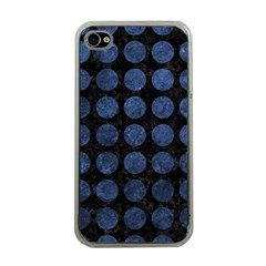 Circles1 Black Marble & Blue Stone Apple Iphone 4 Case (clear) by trendistuff