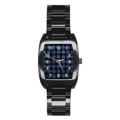 Circles1 Black Marble & Blue Stone Stainless Steel Barrel Watch by trendistuff
