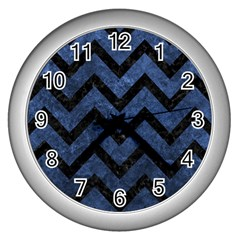 Chevron9 Black Marble & Blue Stone (r) Wall Clock (silver) by trendistuff