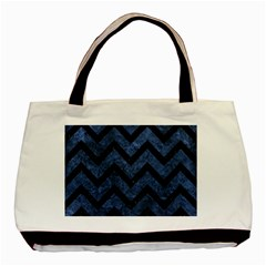 Chevron9 Black Marble & Blue Stone (r) Basic Tote Bag (two Sides) by trendistuff