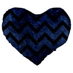 Chevron9 Black Marble & Blue Stone (r) Large 19  Premium Flano Heart Shape Cushion by trendistuff