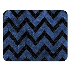 Chevron9 Black Marble & Blue Stone (r) Double Sided Flano Blanket (large) by trendistuff