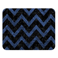 Chevron9 Black Marble & Blue Stone Double Sided Flano Blanket (large) by trendistuff