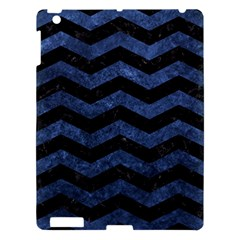 Chevron3 Black Marble & Blue Stone Apple Ipad 3/4 Hardshell Case