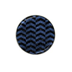 Chevron2 Black Marble & Blue Stone Hat Clip Ball Marker by trendistuff