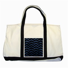 Chevron2 Black Marble & Blue Stone Two Tone Tote Bag by trendistuff