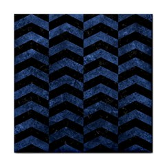 Chevron2 Black Marble & Blue Stone Face Towel by trendistuff