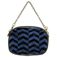 Chevron2 Black Marble & Blue Stone Chain Purse (one Side) by trendistuff