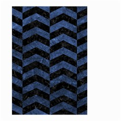 Chevron2 Black Marble & Blue Stone Small Garden Flag (two Sides) by trendistuff