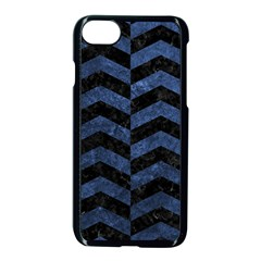 Chevron2 Black Marble & Blue Stone Apple Iphone 7 Seamless Case (black) by trendistuff