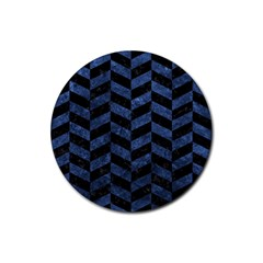 Chevron1 Black Marble & Blue Stone Rubber Round Coaster (4 Pack) by trendistuff