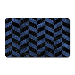 Chevron1 Black Marble & Blue Stone Magnet (rectangular)