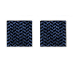 Chevron1 Black Marble & Blue Stone Cufflinks (square) by trendistuff