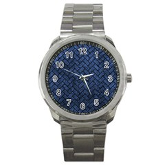 Brick2 Black Marble & Blue Stone (r) Sport Metal Watch by trendistuff
