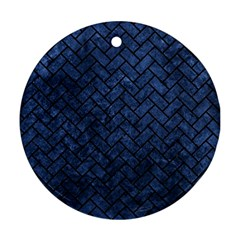 Brick2 Black Marble & Blue Stone (r) Round Ornament (two Sides) by trendistuff