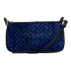 Brick2 Black Marble & Blue Stone (r) Shoulder Clutch Bag