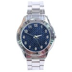 BRICK2 BLACK MARBLE & BLUE STONE (R) Stainless Steel Analogue Watch Front