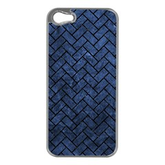 Brick2 Black Marble & Blue Stone (r) Apple Iphone 5 Case (silver) by trendistuff