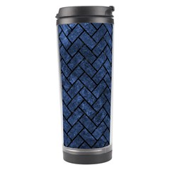 Brick2 Black Marble & Blue Stone (r) Travel Tumbler by trendistuff