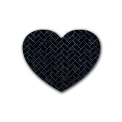 Brick2 Black Marble & Blue Stone Rubber Heart Coaster (4 Pack) by trendistuff