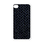 BRICK2 BLACK MARBLE & BLUE STONE Apple iPhone 4 Case (White) Front