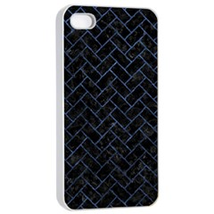 Brick2 Black Marble & Blue Stone Apple Iphone 4/4s Seamless Case (white) by trendistuff
