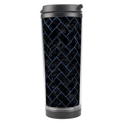 Brick2 Black Marble & Blue Stone Travel Tumbler by trendistuff