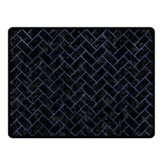 Brick2 Black Marble & Blue Stone Double Sided Fleece Blanket (small) by trendistuff