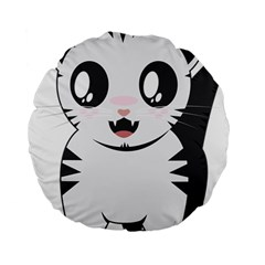 Meow Standard 15  Premium Flano Round Cushions by evpoe