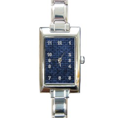 Brick1 Black Marble & Blue Stone (r) Rectangle Italian Charm Watch by trendistuff