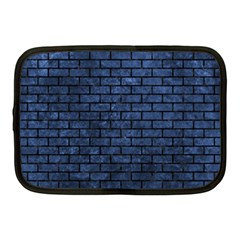 Brick1 Black Marble & Blue Stone (r) Netbook Case (medium) by trendistuff
