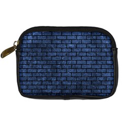 Brick1 Black Marble & Blue Stone (r) Digital Camera Leather Case by trendistuff