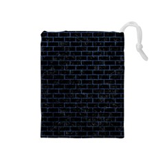 Brick1 Black Marble & Blue Stone Drawstring Pouch (medium) by trendistuff